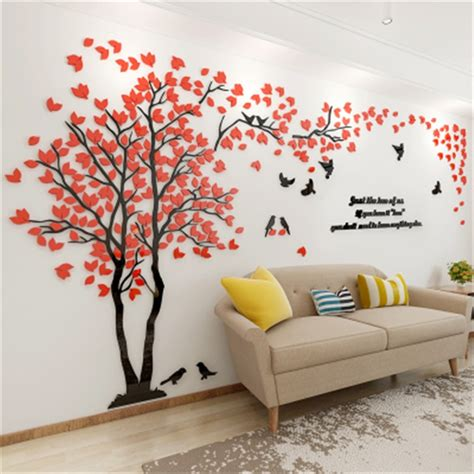 arrival crystal acrylic diy  wall stickers red tree