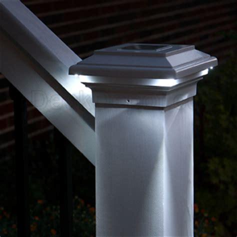 solar lights for decks post cap aries solar post cap light by deck lighting