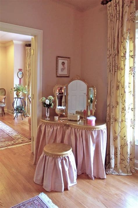 Bedroom Table Skirts by Gold Leaf Vanity With Silk Skirt Featuring Matching Mirror