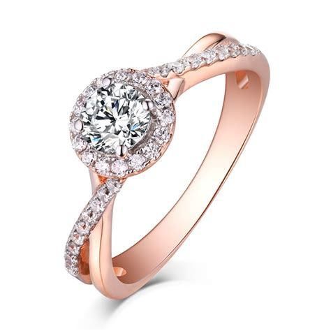 round cut rose gold 925 sterling silver white sapphire