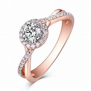round cut rose gold 925 sterling silver white sapphire With rose gold and silver wedding rings