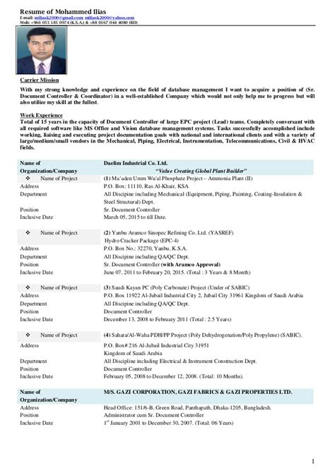 resume  mohammed ilias sr document controller