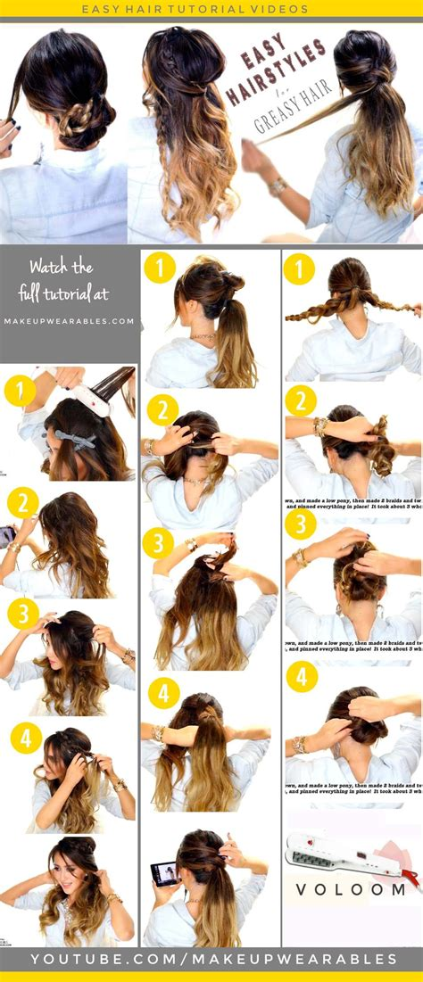 easy hairstyles  greasy hair   braid bun