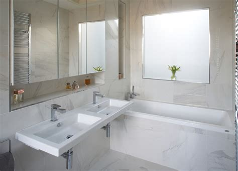 faux marble tile bathroom contemporary with architecture