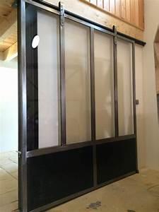 porte coulissante style industriel ferronnerie hyeres With porte coulissante style industriel