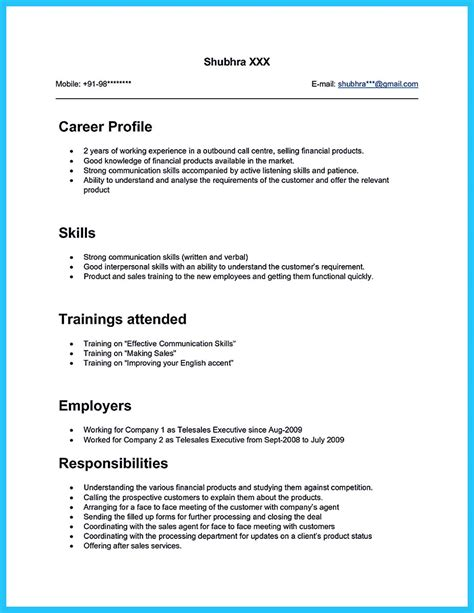 cool information  facts    call center resume sample