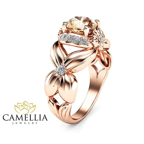 flower design morganite engagement ring  rose gold