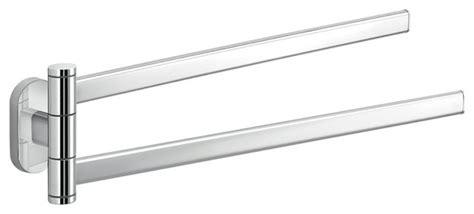 Polished Chrome Dual Swivel Towel Bar-contemporary