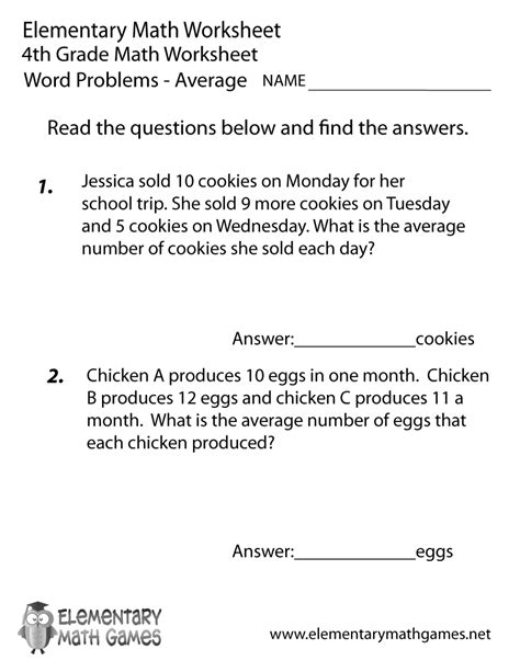 math worksheets  grade word problems world  reference