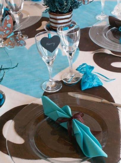 deco de table bleu d 233 co de mariage bleu turquoise marron chocolat deco id 233 e mariage communion