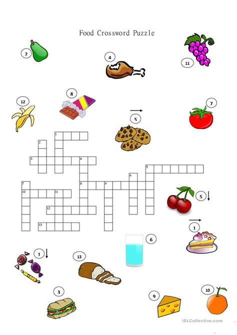 food crossword puzzle worksheet  esl printable