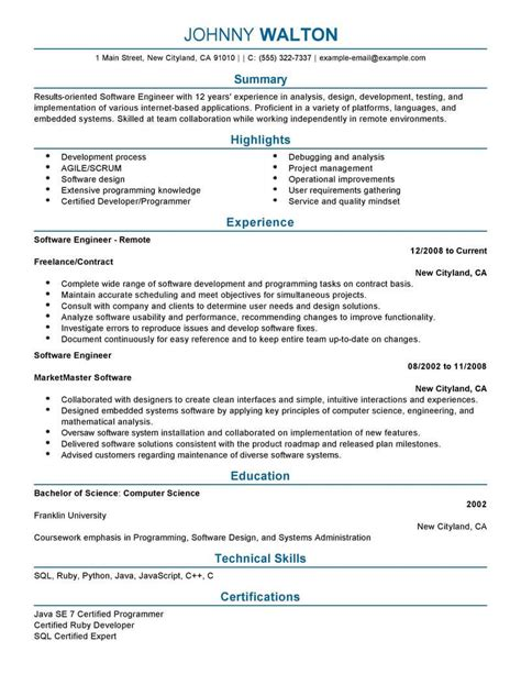 Professional Summary Resume Exles For Software Developer by Best Remote Software Engineer Resume Exle Livecareer