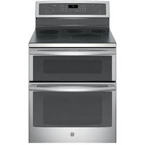 GE Profile 30 in. 6.6 cu. ft. Double Oven Electric Range with Self-Cleaning Convection Oven (Lower Oven) in Stainless Steel, Silver/Gray, Stainless