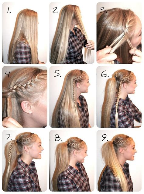 easy cheer hairstyles braided high ponytail tutorial hair hair styles hair