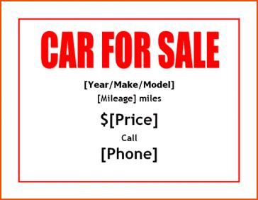 car  sale template bookletemplateorg