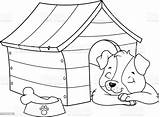 Coloring Sleeping Puppy Dog Doghouse Animal Sleep Vector Stephanus Mandalas Domestic Pets Animals Printable Comments sketch template