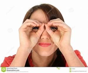 Young Woman Making Binoculars Hands Royalty-Free Stock ...