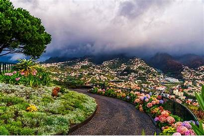 Madeira Funchal Portugal Islands Mountains Flowers Town