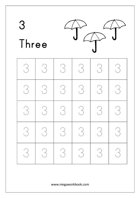 free printable number tracing and writing 1 10