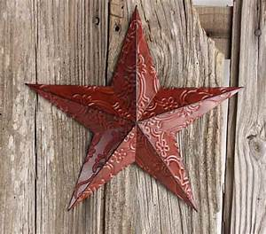 Red metal embossed barn star wall decor home