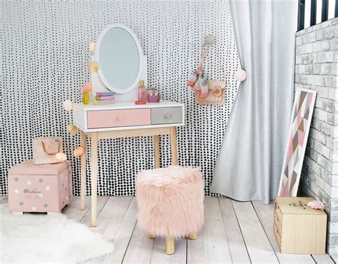 Blush Pink, Grey And White Children's Dressing Table