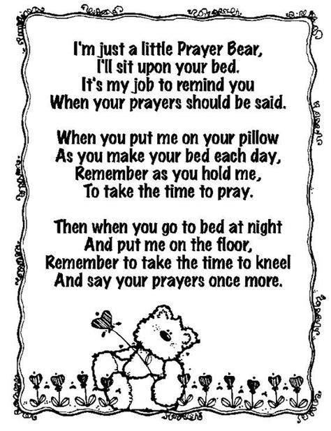 printable prayer bear printable prayer bear poem prayer