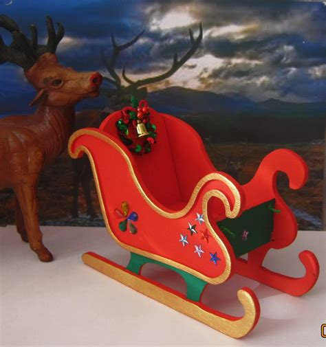 christmas santa sleigh handmade wooden new dolls house or