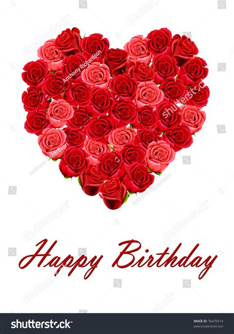 Happy Birthday Heart Roses Isolated On Stock Illustration