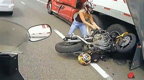 Amazing Motorcycle Accident Bike Vs Truck Lane Splitting