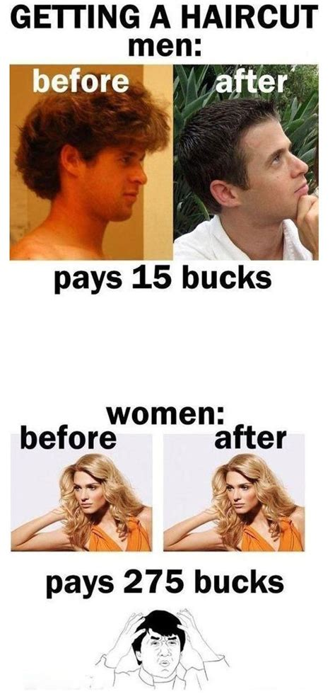 Men And Women Memes - getting a haricut men vs women
