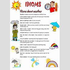 Idioms About Weather Worksheet  Free Esl Printable