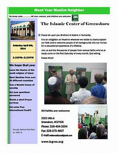 Invitation to tour AND EAT at The Islamic Center of ...