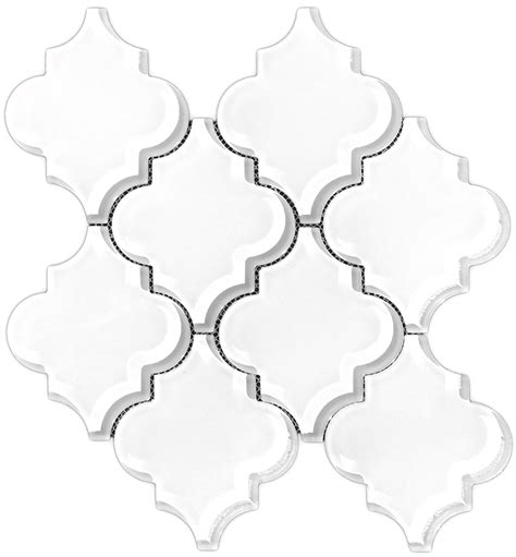 white arabesque tile glass arabesque brilliant white 8mm premium mosaic tile