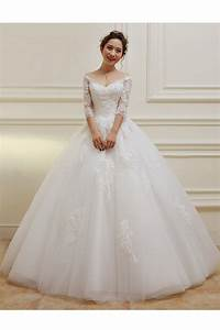 3 4 length sleeves v neck lace wedding dresses bridal With medium length wedding dresses