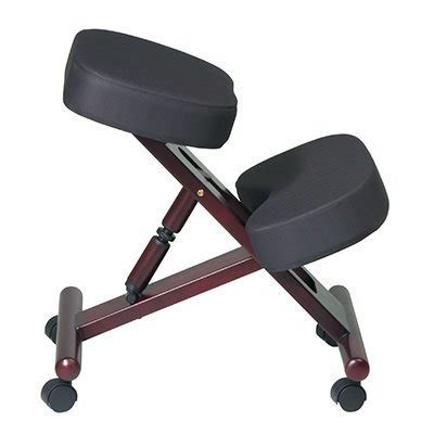 kneeling chair with memory foam seat and wood finish