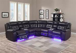 Sofa with lights underneath mjob blog for Modern black leather sectional sofa with built in light
