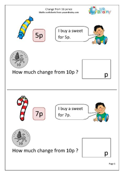 change from 10p money maths worksheets for year 1 age 5 6