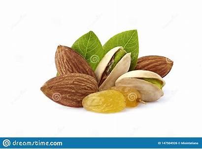 Nuts Raisins Wits Pistachio Almonds Closeup Leaves