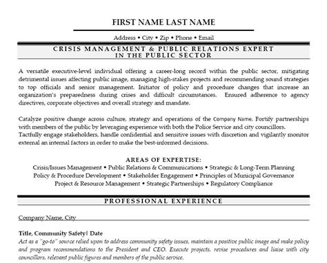 Crisis Management Resume by Crisis Management Relations Expert Resume