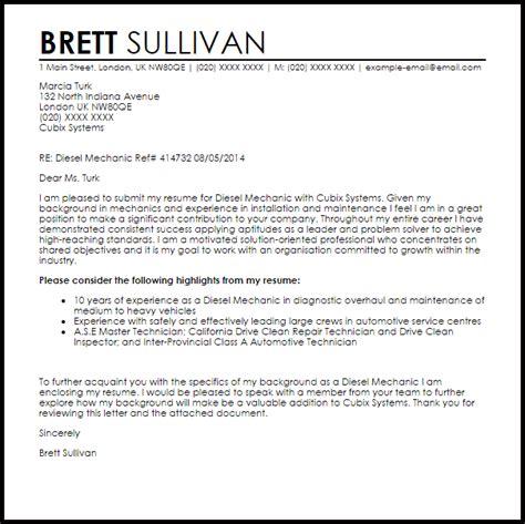 diesel mechanic cover letter sample cover letter templates examples