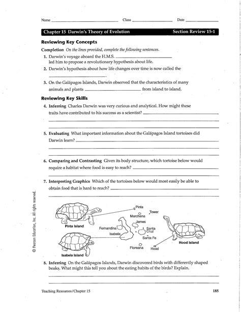 darwin s theory of evolution worksheet chapter 15 darwin