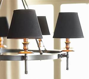 Black linen chandelier shade set of pottery barn