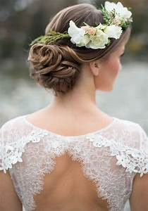 Updo Wedding Hairstyle With White Fresh Flowers Deer