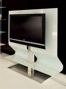 Meuble Avec Support Tv : odeon 7098 meuble porte tv tonin casa en verre arrondi et ~ Dailycaller-alerts.com Idées de Décoration