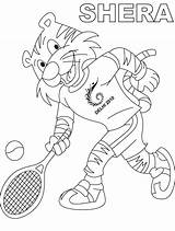 Tennis Coloring Pages Shera Play Racket Player Playing Printable Sports Getcolorings Coloringpages101 sketch template
