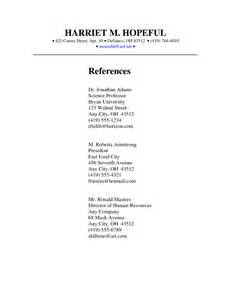 resume exles for college student first job exle resume reference page