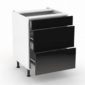 Meuble Cuisine Noir : meuble cuisine tiroir casserolier ~ Melissatoandfro.com Idées de Décoration