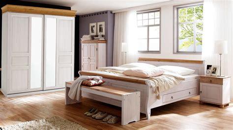 Schlafzimmer Oslo 4tlg Set Kiefer Massiv Weiß Antik Mit
