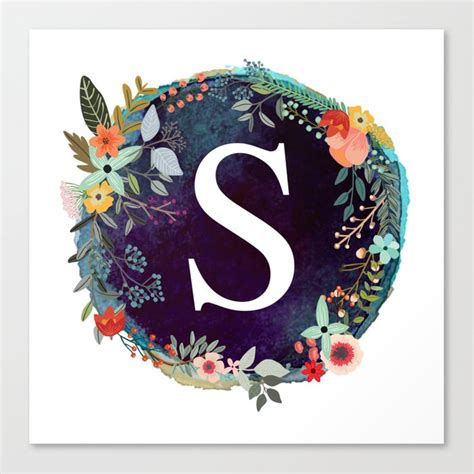 personalized monogram initial letter  floral wreath artwork canvas print  abalife society