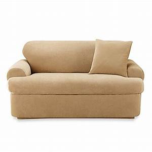 Sure fitr stretch pique 2 piece t cushion sofa slipcover for Sure fit stretch slipcovers clearance